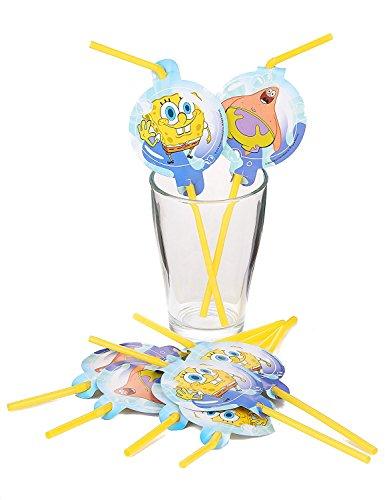 takestop Juego 16Piezas Pajitas Bob Esponja nickelodeon 24cm de plástico y papel pajita cumpleaños Party bautizo Día Niños Infantil