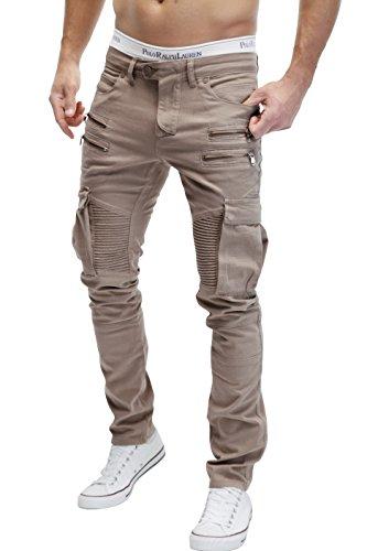 Merish Pantaloni Uomo Jeans, Jeans 5 Pocket stile, con la chiusura lampo sulla tasca, Sacche da gamba, altamente dettagliato modello di elaborazione, tasche cargo J2055 Beige W38