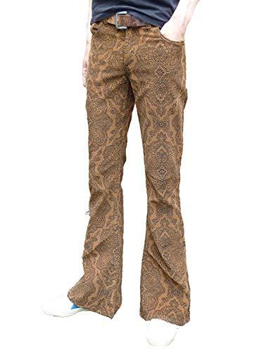 Fuzzdandy ausgestellt Schlaghosen Paisley Hosen Cord Hippie Medern Indie Jeans Retro Vintage Hose Hellbraun - Braun, 32