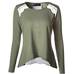 Gwcss Chiffon Stitching Long Sleeve Women , S