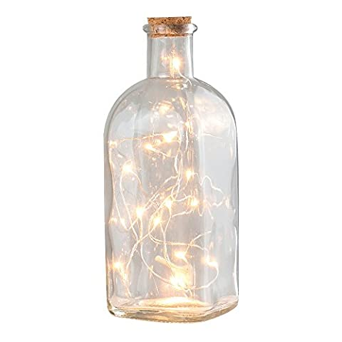 Classic Vintage Apothecary Corked Glass Bottle Table Lamp with LED Battery Operated Warm White Fairy Chain Lights
