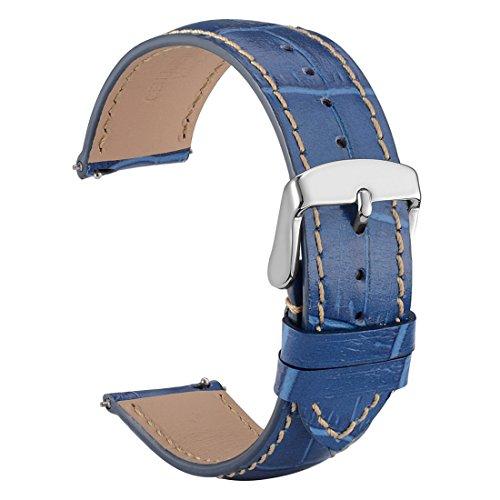 WOCCI Alligator Geprägtes Uhrenarmband 22mm mit Schnalle Silber, Schnellverschluss (Blau) - Geprägt Kalb Leder