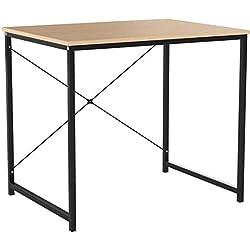 WOLTU Bureau d'ordinateur Table de Travail en Bois et Acier Table de Bureau, 80x60x70cm, Noir+Chêne Clair, TSB03hei