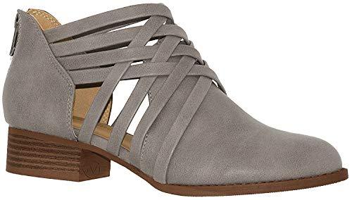 City Classified Damen Stiefelette, gewebt, mit Riemen, Criss Cross Low Chunky Heel, (hellgrau), 36 EU -