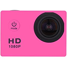 Sufeng Waterproof Full HD 1080P Sports Action Camera DVR Cam DV Video Camcorder (Hot Pink)