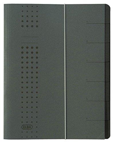 ELBA 400001999 Ordnungsmappe chic A4 7 Fächer mit Blankotaben & Spanngummi aus Karton in anthrazit