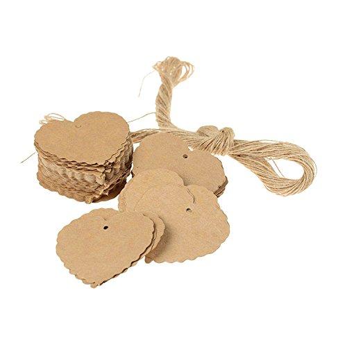 Ishine 100 pezzi etichette in carta kraft cuore con spago iuta etichette regalo per matrimonio a forma di cuore decorazione della festa nuziale