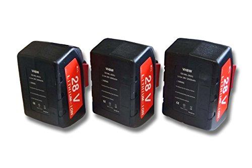 Offerta 3x Batterie per Würth 0700956730 sostituisce 48-11-2830, 0700956730 Li-Ion 2000mAh (28V)