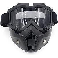 Spohife Gafas Desmontable Máscara del Moto Filte de Boca para Cascos Abierto Media Cara de Esquí Snowboard Motocross,Máscara de la motocicleta con gafas desmontables