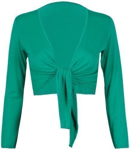 Womens-Long-Full-Sleeves-Ladies-Stretch-Bolero-Cropped-Cardigan-Front-Tie-Knot-Shrug-Top