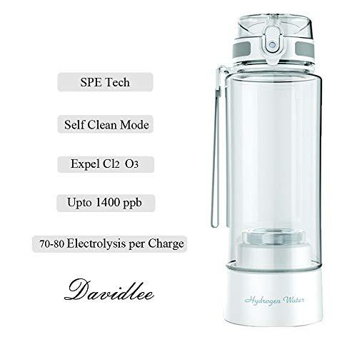 Davidlee Tragbar Wasserstoffreiche Generator Wasserflasche SPE Technologie Ionisator Modus 3 Minuten Selbstreinigung Funktion Hohe Konzentration Entladung Ozon und Chlor -380ml F6 (Weiß)