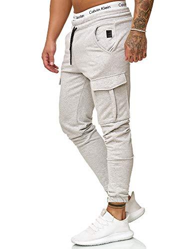 OneRedox Herren Jogging Hose Jogger Streetwear Sporthose Modell 1213 Grau L