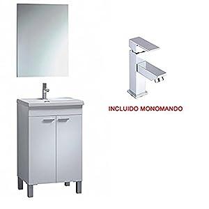 Mueble con Lavabo Cerámico 2 Puertas 50 CM + Espejo GRIFO INCLUIDO
