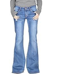Damen Jeans-Schlaghosen aus Denim - 60er/70er Stil im Used Look - Blau