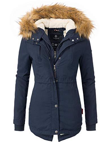 Marikoo Damen Mantel Wintermantel Winterparka Akira Blau Gr. S