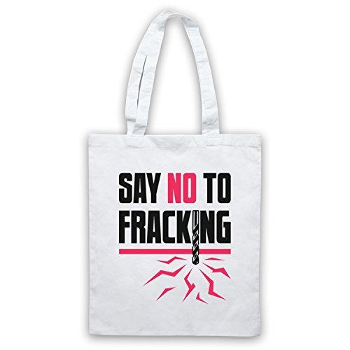 Say No To Fracking Protest Slogan Umhangetaschen Weis