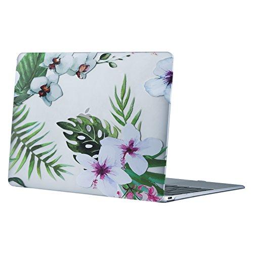 MOSISO MacBook 12 Retina Hülle - Ultra Slim Hochwertige Hartschale Tasche Schutzhülle Snap Case für MacBook 12 Zoll mit Retina Display A1534 2017/2016/2015, Palmblätter mit Weißen Blüten
