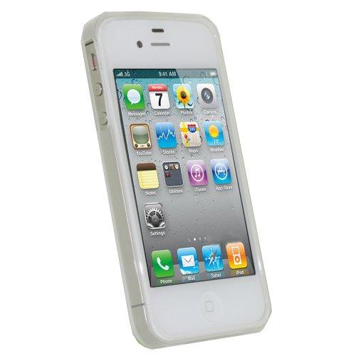 igadgitz Rosso Custodia TPU Gel Case Cover Rigida Protezione per Apple iPhone 4S + Protettore Schermo Trasparente Chiaro