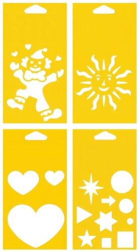 8cm Flexibel Kunststoff Universal Schablone - Textil Kuchen Wand Airbrush Möbel Dekor Dekorative Muster Torte Design Technisches Zeichnen Zeichenschablone Wandschablone Kuchenschablone - Sonne Herzen Clown Kreise Dreieck (Clown Dekor)