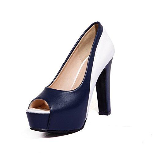 BalaMasa Filles À Enfiler Couleurs Assorties Haut Talons Matière Souple Pumps-Shoes Bleu, 41.5 EU, APL01338