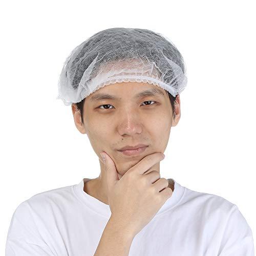 TAOtTAO 100 Einweg-Staubkappen Duschhauben Arbeitshaube des Chefkochs Staub Einweg Dusche Plissee Anti Non Woven Caps Hut Hair Set Salon Spa Hut (Weiß)