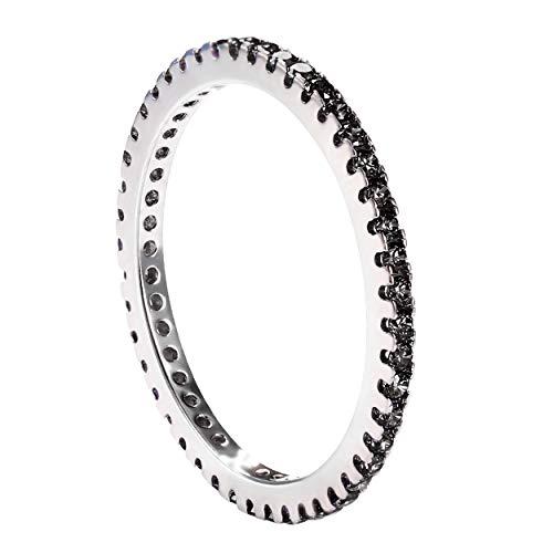 Argento sterling 925Jewboo una fila zirconi viola anello regalo per donne per amante e Argento, 7, colore: Nero, cod. JEWUKR025-FBA-HS-7