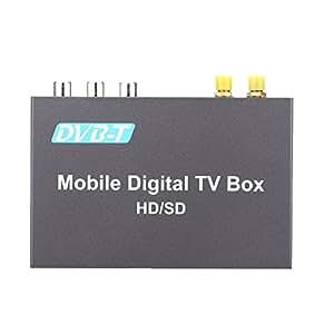 KKMOON TV Box Mini divers canaux voiture Mobile TV numérique boîte Tuner TV analogique haute vitesse 240km/h Signal fort récepteur TNT avec antenne 2