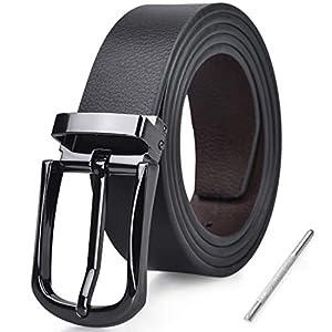NUBILY Cintura Uomo Pelle Nero Marrone Reversibili Cinture da Uomo Della Di Cuoio Fibbie Cintura Casual Formali Elegante… 6 spesavip