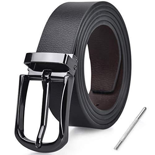 NUBILY Cinturon Hombre Cuero Negro Marrón Jeans Reversible Piel Cinturón para Hombres Clásico Negocios Casual Trabajo Traje Hebilla Cinturones 125CM