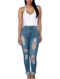 Hffan Damen Denim Dünn Baumwolle Gerissen Hose Hohe Taille Jeans Slim Fit  Bleistift Hose Zerrissen Stretch 87a32e7c88