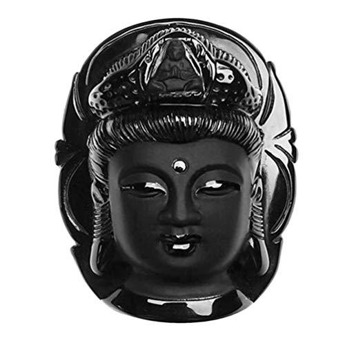 TAOHOU Vintage Nero Guanyin Natural Obsidian Kwan-Yin Gioielli Ciondolo Testa per Regalo Nero