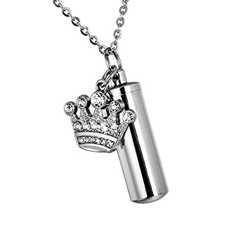 Stainless Steel Cylinder Pet Keepaske Jewellery Pendant With a Transparent Capsule and Diamond Crown Charm - Cremation Multi-function Jewellery Pet Keepaske Jewellery Pendant