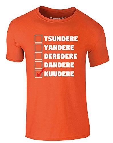 Brand88 - I Am Kuudere, Erwachsene Gedrucktes T-Shirt Orange/Weiß