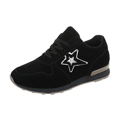 Scarpe da donna Sneaker piatto Sneakers low Ital-Design nero N861A