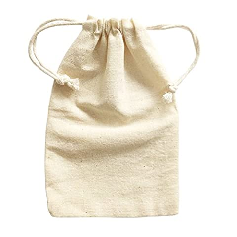 Doutop Small Cotton Drawstring Bags Natural Muslin Bag 6 Pack for Christmas Jewel Gifts Festival Toys Storage Decorating Bag 10x15cm