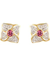 Estelle Gold Plated Stud Earring Set|Earing In Bright Colour Pink Stone Ladies Women Tops Jewelry|Simple Small...