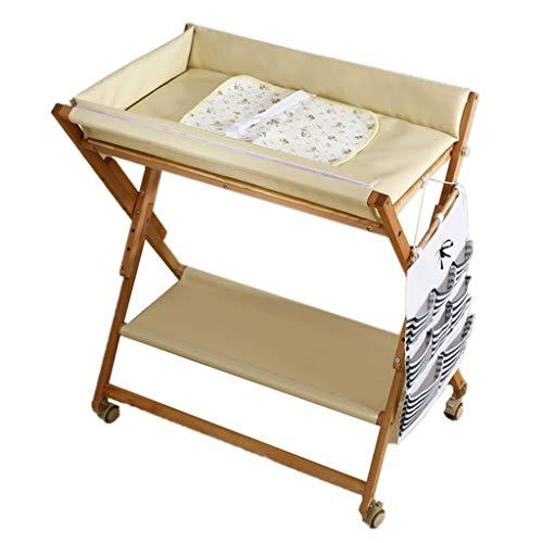 ZQ Wickelaufsatz Wickeltisch aus Holz mit wasserfester Unterlage, Wickelstation für Kleinkinder mit Aufbewahrung, Rosa/Grün/Gelb (Farbe : B)