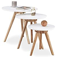 Relaxdays Set de 3final Tables (madera de nogal, blanco tablero de la mesa de 50, 40y 32cm, en diseño nórdico, blanco/natural marrón, Madera, Blanco/Marrón