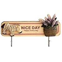 Vintage Wood Hooks Cute Zebra Key Cap Bags Holder Powerful Sticky Wall Mounted Rack Decor with Nice Day Saying