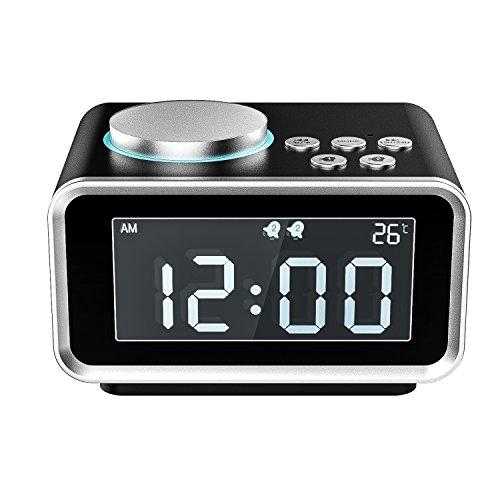 MoKo Digital Wecker, Multifunktions FM Radio Dual Alarm Tisch Nachttisch LCD Display mit 2 USB Ladegerät, Snooze / Dimmer Control / Indoor Thermometer für Schlafzimmer - Schwarz