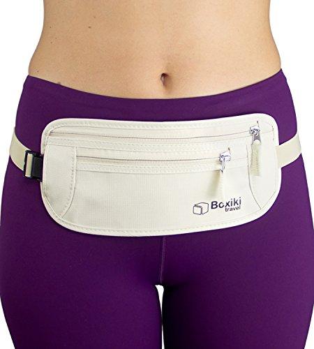 Cinturón-Monedero Virtualmente Invisible para Mujeres con Tecnología Protectora RFID / Bolso Seguro para Pasaporte y Dinero (Beige)