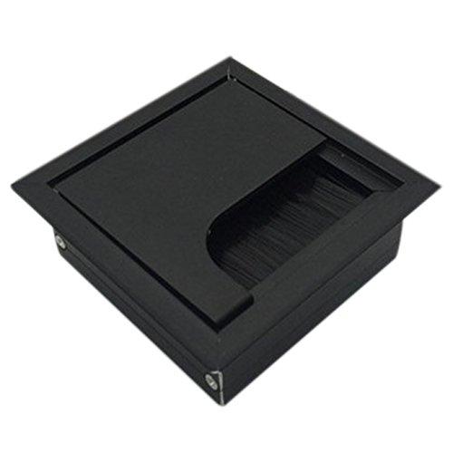 uooom 80x 80mm Computer Tisch Metall Tülle Schreibtisch Kabel Tidy schwarz Draht Loch Cover, schwarz