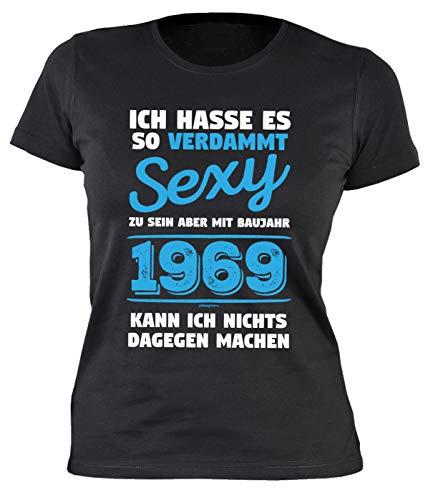 Damen T-Shirt 50 Geburtstag Frauen - Geburtstagshirt Frau 50 Jahre - Jahrgang 1969 : Ich Hasse es so verdammt Baujahr 1969 - Geschenk-Idee 50 Damenshirt Gr: L
