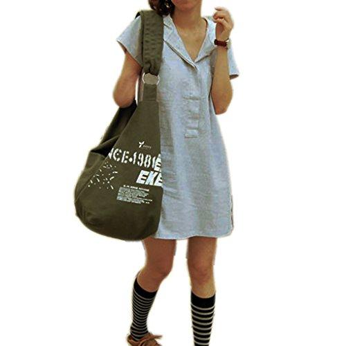 Witery - Borsa a tracolla da donna, borsetta stile casual, in tela, tracolla grande, borsa da shopping, borsa da viaggio, Army Green (verde) - CLOA0002-02 Army Green