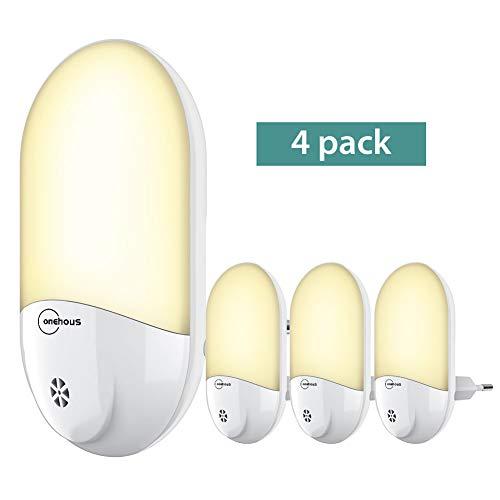 Luce notturna led, automatiche lampada notturna con sensore di luce plug-and-play, lampada da presa per bambini, soggiorno, corridoi, bagno, cucina, 4 pezzi