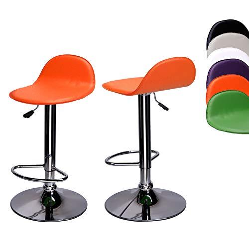 CCLIFE 1/2 Taburete giratorio taburete giratorio con redondo cuero de PU base y barra en acabado cromado, Color:Naranja