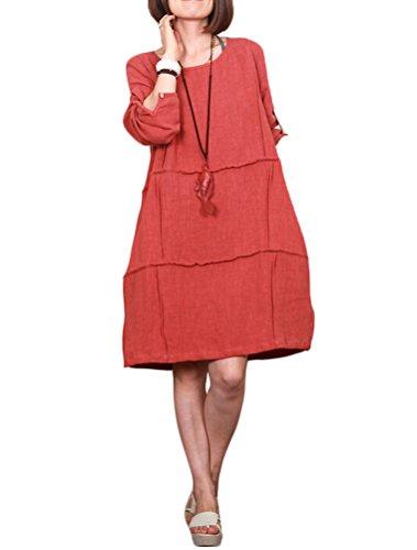 Vogstyle Damen Leinenkleid Sommer Kleidung Orange