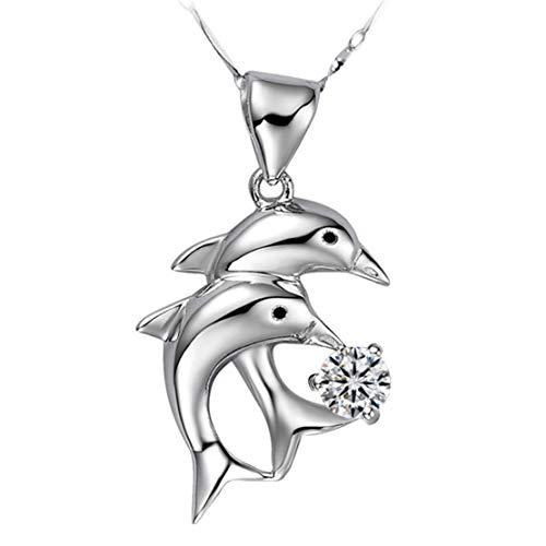 Zerol collana da donna con ciondolo a forma di cuore, elegante e raffinata, in vero argento e argento, colore: argento, cod. llq-xl-292