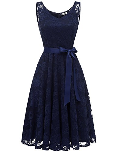 AONOUR AR8008 Damen Floral Spitze Brautjungfern Party Kleid Knielang V Neck Cocktailkleid Navy XS