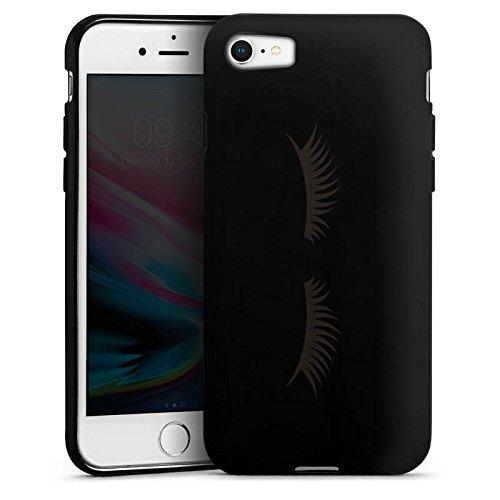 Apple iPhone 7 Plus Silikon Hülle Case Schutzhülle Lashes Wimpern ohne Hintergrund Silikon Case schwarz